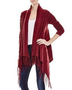 The Lane  - Cable Knit Fringed Cardigan