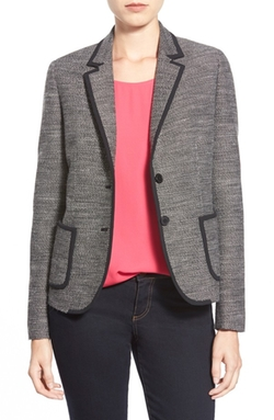 Anne Klein - Solid Trim Tweed Jacket