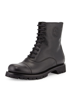 Gucci - Royan Leather Combat Boots