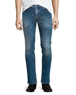 Versace Collection - Destroyed Skinny-Leg Bleached Denim Jeans