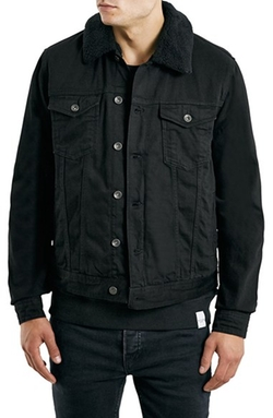 Topman - Fleece Lined Denim Jacket