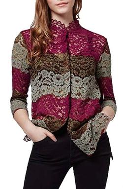 Topshop - Colorblock Lace Shirt