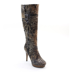 Brieten - Leopard Print Knee High Boots