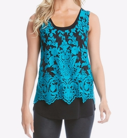 Karen Kane - Contrast-Lace Layered-Look Top
