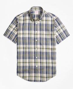 Brooks Brothers - Madison Fit Large Plaid Irish Linen Short-Sleeve Sport Shirt