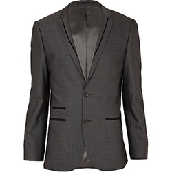River Island - Contrast Wool-Blend Slim Suit Jacket