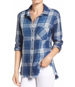 Side Stitch  - Fringe Hem Plaid Shirt
