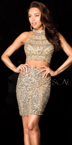 Scala - Two Piece Sequin Shell Cocktail Dress