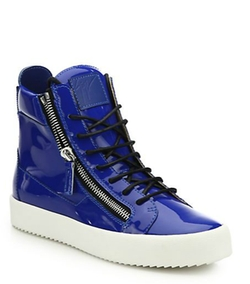 Giuseppe Zanotti  - Double-Zip Patent Leather High-Top Sneakers
