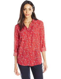 Notations - Printed Button-Front Blouse