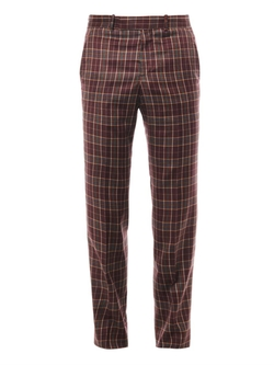 Alexander McQueen  - Check Wool-Twill Trousers