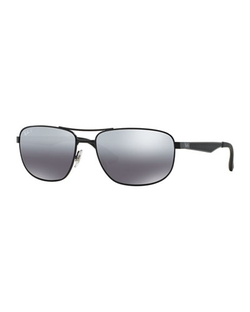 Ray-Ban - Metal Mirrored Aviator Sunglasses, Black