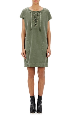 Nili Lotan - Lace-Up Slub-Twill Dress