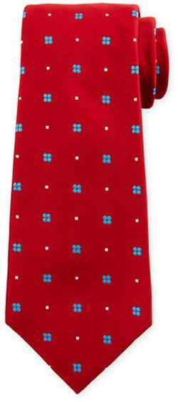 Kiton - Neat Flower-Print Silk Tie