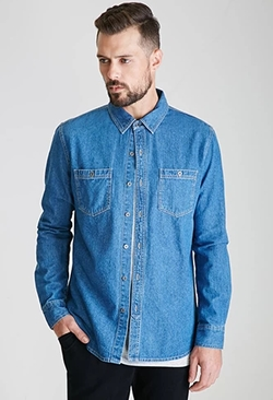 21Men - Denim Button-Down Shirt