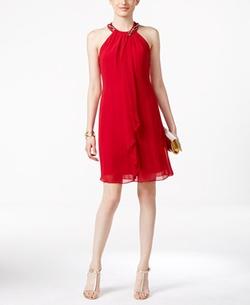 SL Fashions - Embellished Chiffon Halter Dress