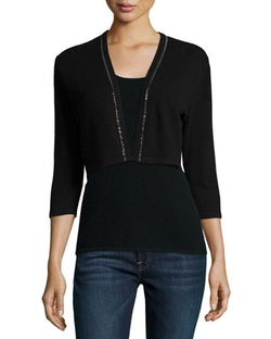 Neiman Marcus Cashmere Collection  - Chain Trim Cashmere Shrug