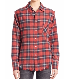 R13 - Frayed Cotton Boy Plaid Shirt