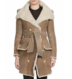 Balmain - Double-Breasted Belted Shearling Coat