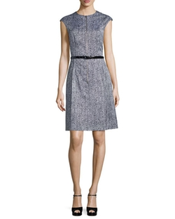 Michael Kors Collection - Cap-Sleeve Belted A-Line Dress