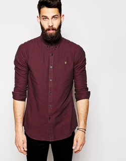 Farah  - Oxford Shirt With Black Weft Slim Fit