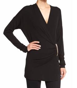 Donna Karan - Long-Sleeve Wrap Top