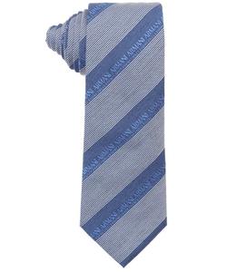 Armani - Royal Blue And White Logo Striped Silk Blend Tie