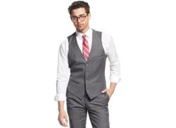Bar III  - Mid-Grey Slim-Fit Pindot Vest