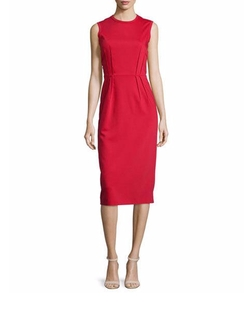 Jil Sander Navy  - Sleeveless Pleated-Waist Sheath Dress