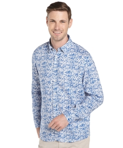 Report Collection - Navy Long Sleeve Printed Linen Button Front Shirt