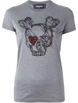 Dsquared2   - Skull Sketch Print T-shirt