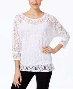 Alfani - Lace High-Low Hem Blouse