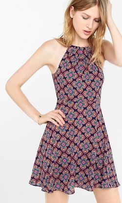 Express - Floral Diamond Print Halter Dress