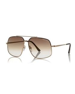 Tom Ford  - Shiny Metal Aviator Sunglasses