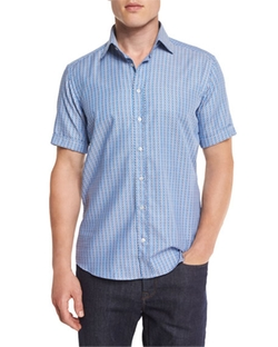 Etro - Rectangle-Print Short-Sleeve Sport Shirt