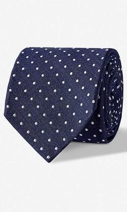 Express - Dot Print Narrow Silk Blend Tie