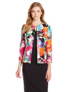 Kasper  - Tropical Floral Printed Flyaway Suit Jacket