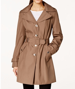 Calvin Klein - Hooded Single-Breasted Water-Resistant Trench Coat