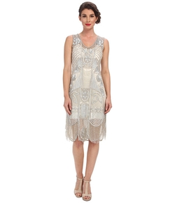 Unique Vintage - Beaded Fringed Flapper Dress