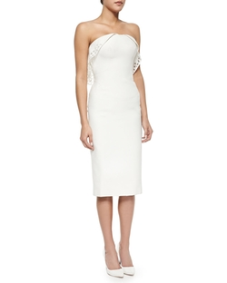 Zac Posen - Strapless Geometric-Eyelet Draped Dress