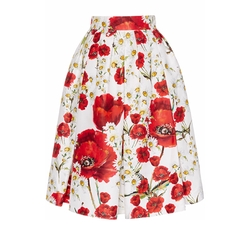 Dolce & Gabbana - Silk Cotton Floral Printed Skirt