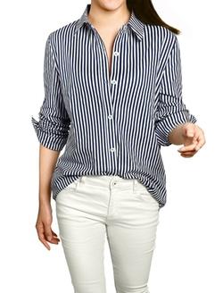 Allegra K - Women Vertical Stripes Shirt
