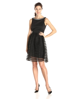 Sandra Darren - Sleeveless Illusion Skirt Dress