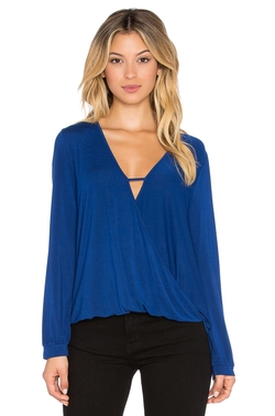 Krisa  - Long Sleeve Surplice Top