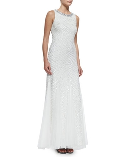 Aidan Mattox -  Sleeveless Beaded Gown