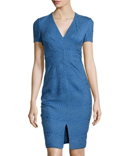 Zac Posen - V-Neck Jacquard Sheath Dress