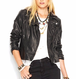 Free People - Faux-Leather Hooded Moto Jacket