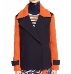 Diane Von Furstenberg - Kenzly Colorblock Textured Coat
