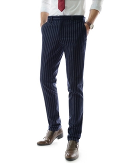 Thelees - Urban Casual Pin Stripe Pattern Straight Fit Business Dress Pants