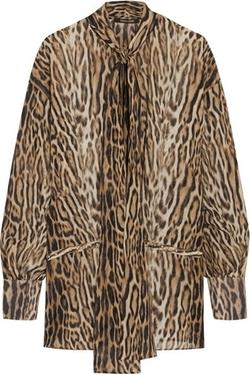 Roberto Cavalli - Leopard-Print Silk-Chiffon Pussy-Bow Blouse